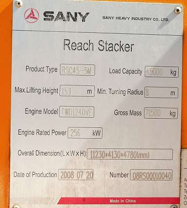 Sany Reach Forklift Truck