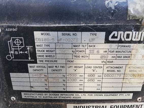 Used 1800 kg Crown LPG forklift