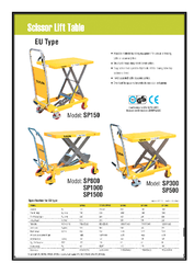xilin scissor lift table sp300 sp500 Catalogue